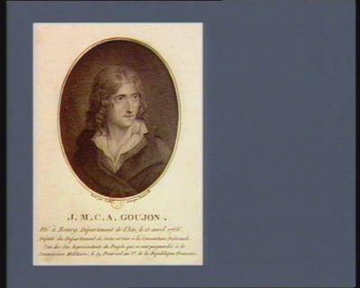 J.M.C.A. Goujon né à Bourg, département de l'Ain, le 13 avril 1766. Député du département de Seine et Oise à la Convention nationale, l'un des six représentants du peuple qui se sont poignardés à la Commission militaire, le 29 prairial an 3.e de la République française : [estampe]