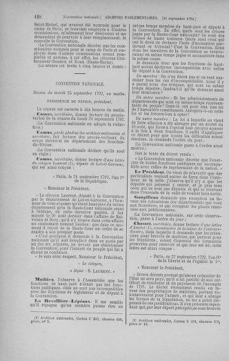 Tome 52 : Du 22 septembre au 26 octobre 1792 - page 128