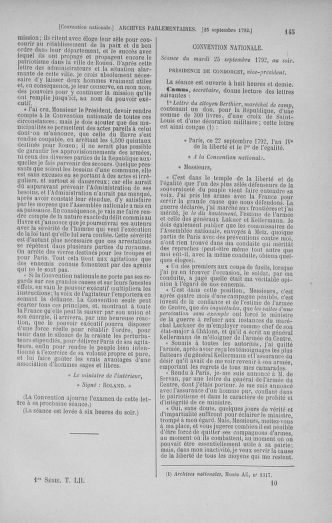 Tome 52 : Du 22 septembre au 26 octobre 1792 - page 145