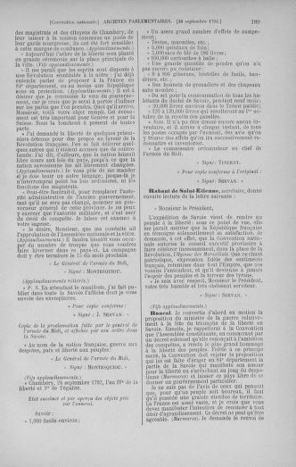 Tome 52 : Du 22 septembre au 26 octobre 1792 - page 189