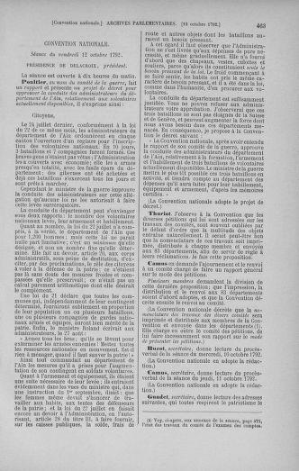 Tome 52 : Du 22 septembre au 26 octobre 1792 - page 463