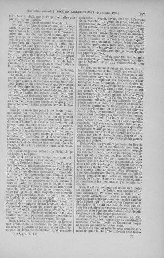 Tome 52 : Du 22 septembre au 26 octobre 1792 - page 497