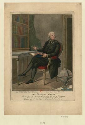 Jean Sifrein Maury redicateur du roi de <em>France</em> l'un des 40 de l'Academie, né à Vanrens dans le Comtat le 26 juin 1746 député par le baillage de Peronne le 1re avril 1789 : [estampe]