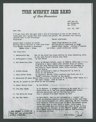 Letter from Turk Murphy to Jim Cullum regarding musical program for Carnegie Hall concert