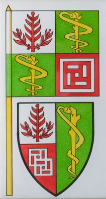 Stanford University. School of Medicine. Flag and Coat of Arms