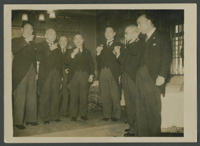 Wang Jingwei and his delegation at a banquet