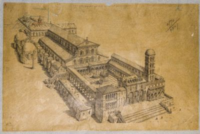 Chiesa di S. Pietro in Vaticano. Basilica Costantiniana. Esterno, ricostruzione