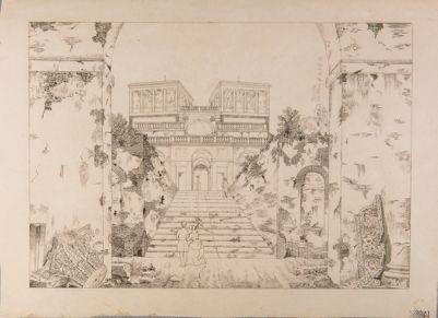 Palatino. Orti Farnesiani prospetto della Villa verso l'ingresso