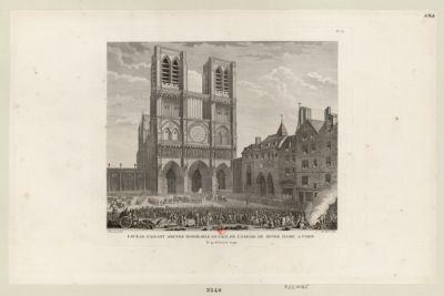 Favras, faisant amende honorable en face de l'église de Notre-Dame à Paris le 19 février 1790 : [estampe]