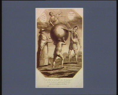 Le  Globe de la France sous les auspices de la Justice est supporté par le Tiers état, aidé de la Noblesse et du Clergé La Reunion des trois Ordres du 25 Juin 1789 : Vive le Roi et Necker : [estampe]