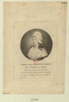 Marie Anne Charlotte Corday née à St Saturnin les Vignaux agé de 25 ans moins trois mois, a l'instant ou elle s'aperçoit qu'un des auditeurs est occupé a la dessinée. Elle tourne la tête de son côté : [estampe]