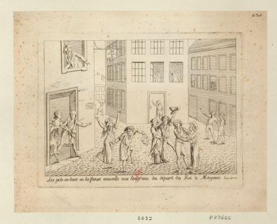 Les  Pets-en-l'air, ou la fausse nouvelle aux emigrans du départ du roi à Mayence le 22 9.bre 1791 : [estampe]