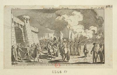 Entré de Dumourier à Bruxelles le 14 novembre 1792, Dumourier fut reçu à <em>la</em> porte de Bruxelles par les magistrats de cette ville ; et les belges ne virent <em>en</em> lui qu'un libérateur : [estampe]