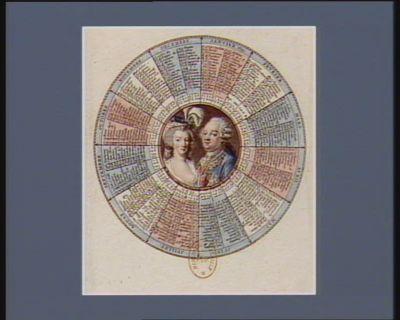 [Calendrier pour l'année 1791 orné d'un <em>portrait</em> de Louis seize et de Marie-Antoinette] [estampe]