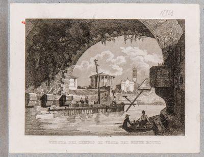 Ponte Rotto o Emilio, interno di un' arcata con vista del tempio di Vesta