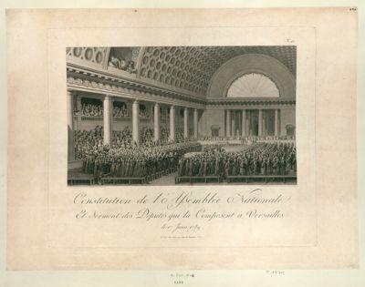 Constitution de l'Assemblée nationale et serment des députés qui la composent à Versailles le 17 juin 1789 : [estampe]
