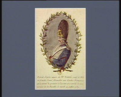 Portrait d'après nature du sr Harné natif de Dôle en Franche Comté, grenadier aux Gardes françoises qui a monté le premier à l'assaut et a arrêté le gouverneur de la Bastille, le mardi 14 juillet 1789 : [estampe]