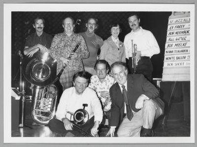 San Francisco Jazz All Stars: Bob Short, Bill Napier, Bob Mielke, Monte Ballou, Ev Farey, Norma Teagarden, David Walker (President of New Orleans Jazz Club of Northern California), Bob Neighbor
