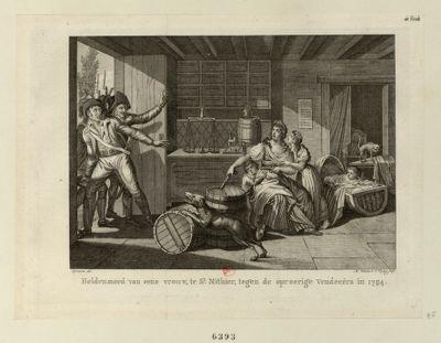 Heldenmoed van eene vrouw, te St. Mithier, tegen de oproerige Vendeeers in 1794 [estampe]