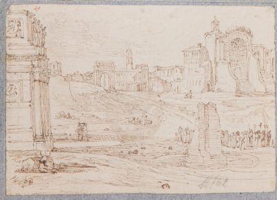 Tempio di Venere e Roma, veduta generale con l' arco di Tito