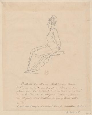 Portrait de Marie Antoinette reine de France conduite au supplice, déssiné à la plume par David [dessin]