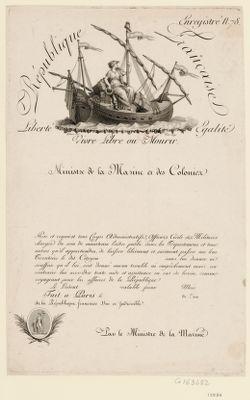 Ministre de la Marine et des Colonies République française. Liberté egalité. Vivre libre ou mourir : [estampe]