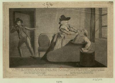 La  Mort du patriote Jean Paul Marat député à la Convention nation.le en 1792, né à Genève assassiné le 13 juillet <em>1793</em> étant dans son bain par Marie Anne Charlotte Corday... : [estampe]