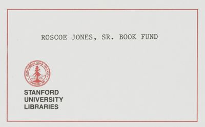 Roscoe Jones, Sr. Book Fund