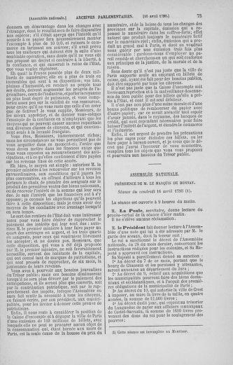 Tome 13 : Du 14 au 20 avril 1790 - page 75