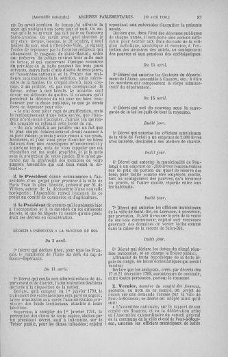 Tome 13 : Du 14 au 20 avril 1790 - page 87