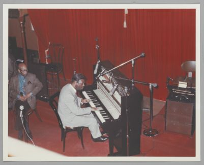 Eubie Blake listens to Earl Hines, on stage at Earthquake McGoon's, 630 Clay St