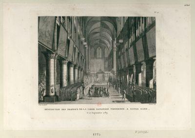 Bénédiction des drapeaux <em>de</em> <em>la</em> Garde nationale parisienne à Notre-Dame le 27 septembre 1789 : [estampe]