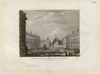 Statue de Louis XIV abatue, place des Victoires les 11, 12, 13 aoust 1792 : [estampe]