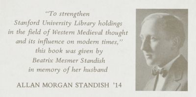 Allan Morgan Standish Memorial Book Fund for Western Medieval Thought
