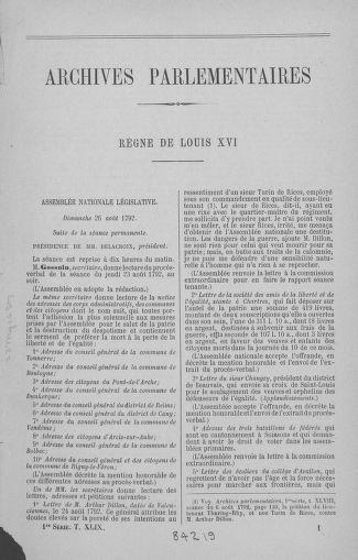 Tome 49 : Du 26 août au 15 septembre 1792 - page 1