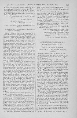 Tome 49 : Du 26 août au 15 septembre 1792 - page 505