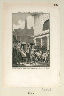 Evénement du 17 juillet 1789 arrivée de Louis XVI dans la capitale trois jours après la prise de la Bastille : [estampe]