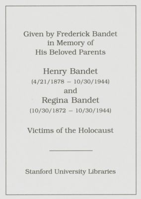 Henry Bandet and Regina Bandet Memorial Book Fund