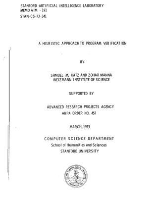 A Heuristic Approach to Program Verification. AIM-191