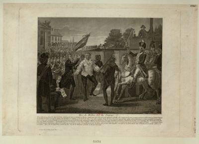 Mort du meilleur roi des Français il descendit d'un pas ferme les dégrés de la tour, et traversa les cours, en tournant ses derniers regards vers le côté de la prison qui renfermoit sa famille... : [estampe]