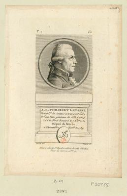 A. L. Philibert Bailleul descend.nt de Jacques et Isaie Petit Gars. D.té aux Etats généraux de 1588 et 1614. Né à la Ferté Bernard le 7 8.bre 1751 député du Perche à l'Assemblée nat.le de 1789 : [estampe]