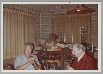 Lu Watters and Bob Helm playing at Lu's home