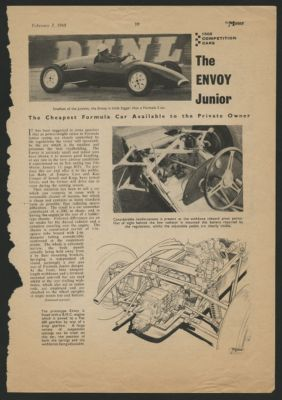 Envoy Formula Junior. Road & Track Road Test February 1960