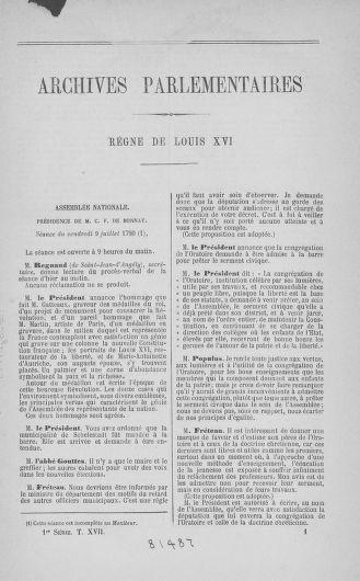 Tome 17 : Du 9 juillet au 12 août 1790 - page ..