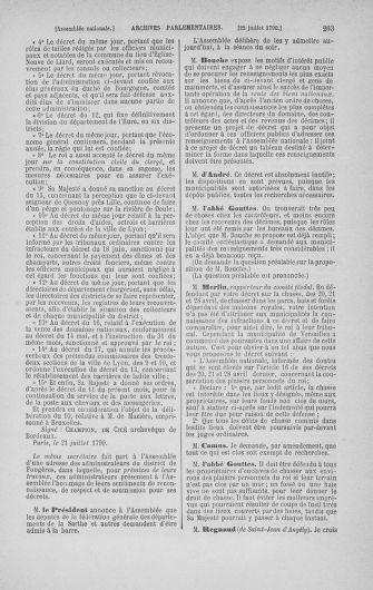 Tome 17 : Du 9 juillet au 12 août 1790 - page 263