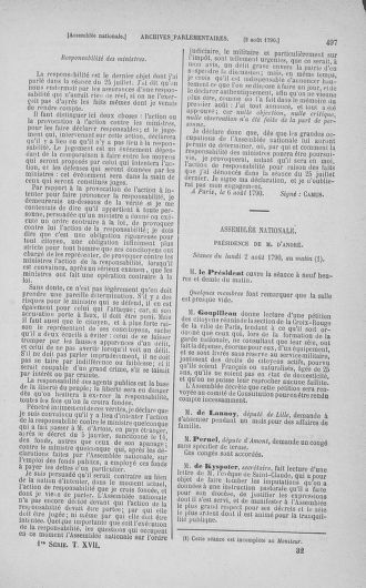 Tome 17 : Du 9 juillet au 12 août 1790 - page 497