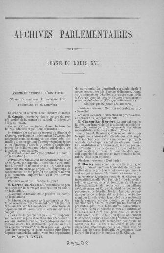 Tome 36 : Du 11 décembre 1791 au 1er janvier 1792 - page ..