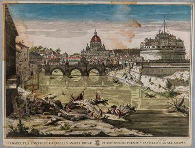 Prospetto del ponte e castello di S. Angelo a Roma
