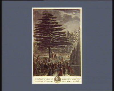 Inauguration du buste de Charle Linnaeus par les naturalistes ses confreres au Jardin des plantes ce 23 aoust 1790 sous le cedre du Liban planté par lui même l'an 1646 [i.e. 1746] [estampe]