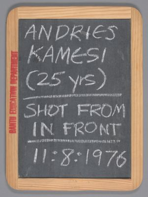 Andries Kamesi, (25 years), shot from in front, 11:8:1976